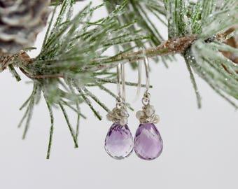 Faceted Amethyst Pearl Drop Earrings, Purple, Amethyst Drop Earrings, Short Dangle, Sterling Silver, Winter Gem Collection, Noelle, Thistle