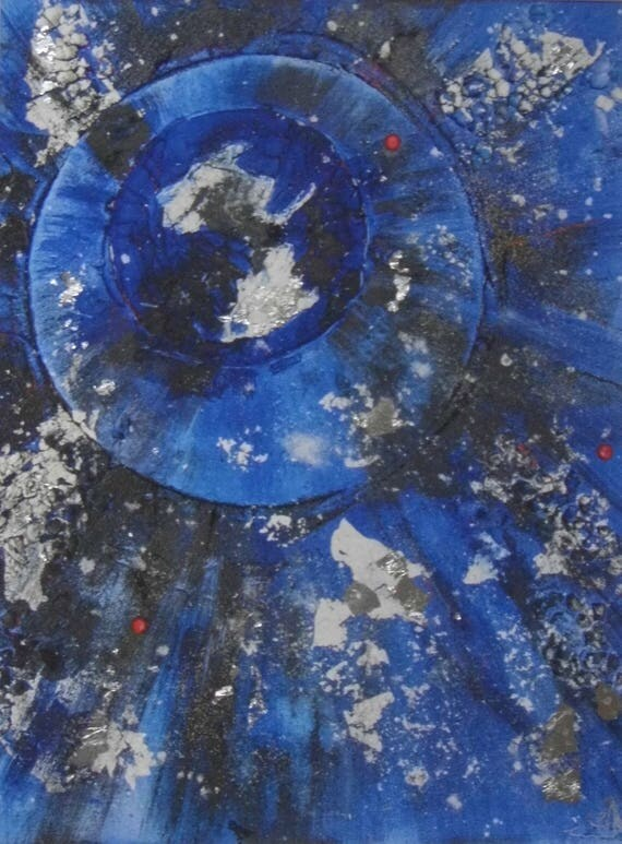 Blue & Black Abstract Print