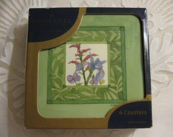 Vintage Six Pimpernel Coasters Floral Wildflower Garden  England  Excellent Condition Used Once  Barware  Tableware  Drinkware  Gift