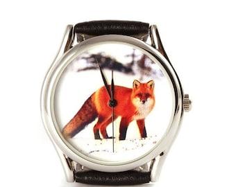 ON SALE 25% OFF Watch, Fox watch, Vintage Style Leather Watch, Women Watches, Unisex Watch, Boyfriend Watch, Silver Case , Gold Case, Black,