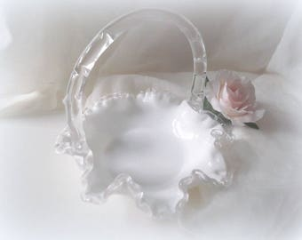 Milk Glass Basket, Fenton Silver Crest, Wedding Decor, Milk Glass Centerpiece
