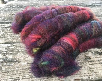 Mini rolags / punis for hand spinning - hand dyed and blended wool and silk merino