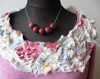 Plus Size Romantic Shabby Chic Tops, Tattered Pink T Shirt WITH Necklace, Upcycled Recycled Clothing, Anthropologie Mori Girl Clothing