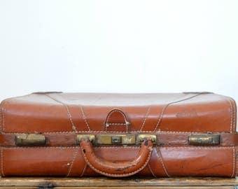 Rustic Antique Brown Suitcase
