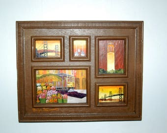 Primitive Folk Art Original oil on wood Classic Icons Miniatures of San Francisco by Marilyn Sargent, Cable Cars, The Golden Gate Bridge ...