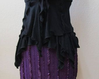 Hand made Purple color A-Line skirt with pleated design plus made in USA(vn86)