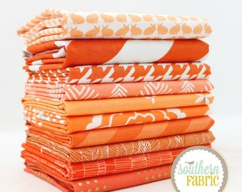 "Orange - Fat Quarter Bundle - 10 - 18""x21"" Cuts - Mixed Designers by Southern Fabric"