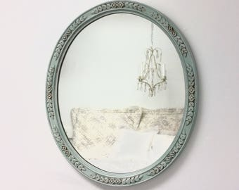"""DECORATIVE VINTAGE MIRRORS For Sale French Teal Green Mirror 29""""x24"""" Shabby Chic Nursery French Country Wall Mirror"""