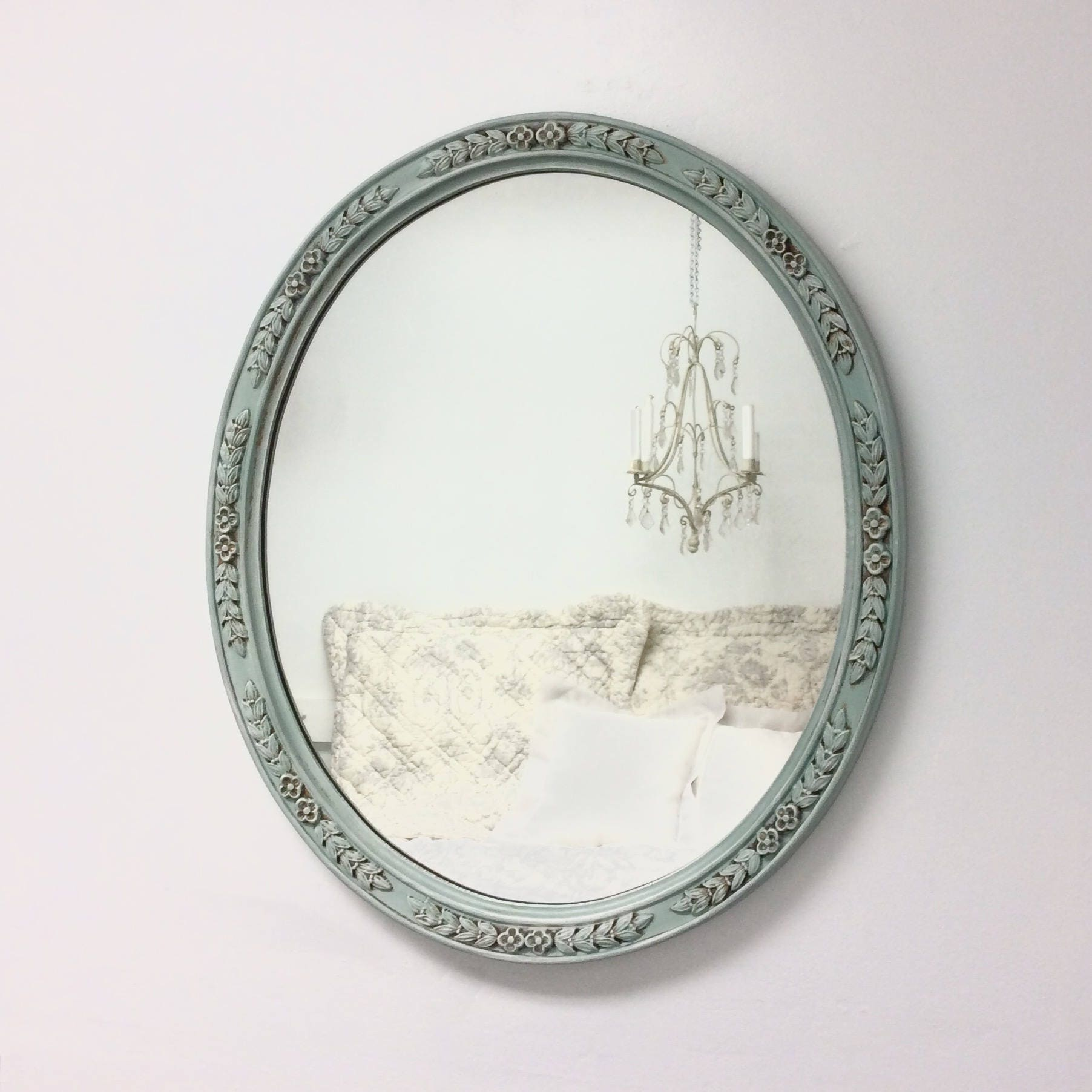Decorative vintage mirrors for sale french teal green mirror for Fancy mirrors for sale
