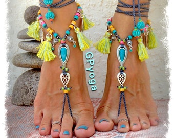 IBIZA Summer BAREFOOT Sandals Neon Tassel jewellery TURQUOISE sandal Tribal Cowgirl feet Ankle Wrap shoes foot wear crochet jewelry GPyoga