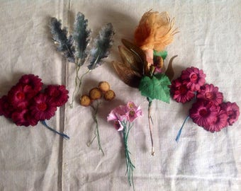 Vintage Faux Flowers 6 bunches Red daisies, Green leaves, pink roses, golden stigmas & Sandy stem / Hats Fascinator Bouquets