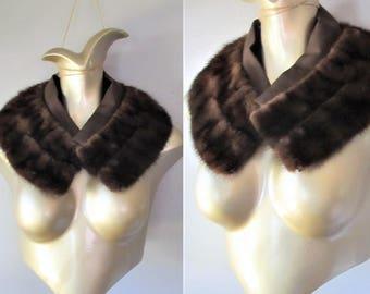 Vintage 1950's Dark Mink Fur Stole Collar / Brown Furry Coat Neck Collar