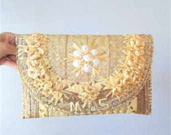 Vintage 1970's Straw Handbag / Hippie Boho Beach Bag Purse Clutch