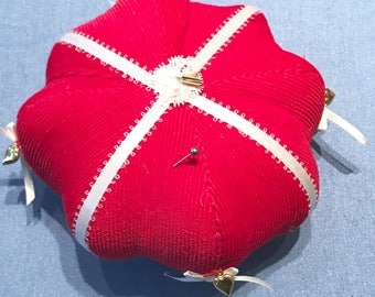 Vintage hand made bright red pin cushion red cord fabric and white satin ribbon gold tiny hearts