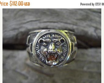 ON SALE Medieval lion head ring in sterling silver