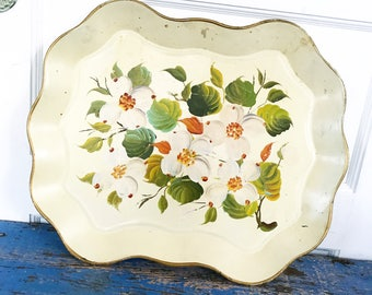 Vintage Tray Tole Painted Floral Flowers Dogwood Tin Serving Tray Scallop Curvy Edge