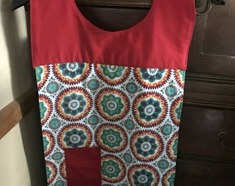 Christmas in July Apron with sewn in dishcloth and pocket (multi colored towel)