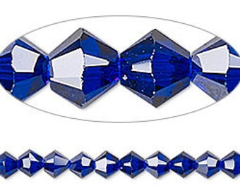 Swarovski bicone, Cobalt Blue and Cobalt Blue AB - #2406