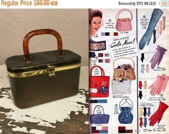 Clearance 60% Off I've Bronzed Up Like My Bag - Vintage 1950s Bronze Vinyl Coffin Box Purse Handbag