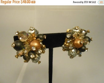 Anniversary Sale 35% Off All the Natural Minerals  - Vintage 1960 Vendôme 'Burnt Gold' Rhinestone Clip On Earrings
