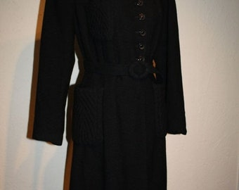Anniversary Sale 35% Off Air Raid Sirens Take Cover - Vintage 1939 WWII Black Textured Wool Princess Coat w/Kangaroo Pockets