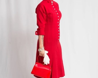 Anniversary Sale 35% Off Heavenly Red Kisses - Vintage Late 1940s True Red Wool New Look Secretary Dress w/Buckle Collar - 8/10