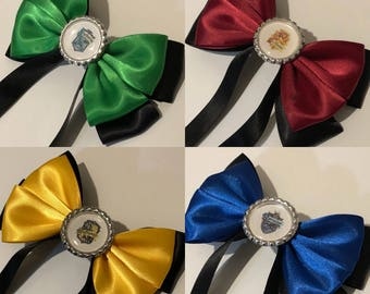 Harry Potter, Hogwarts Houses (Gryffindor, Hufflepuff, Slytherin, Ravenclaw) Inspired Hair Bows
