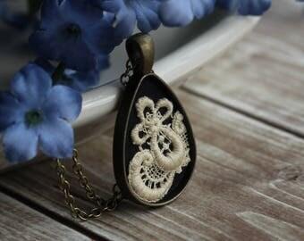 Art Nouveau Necklace, Teardrop Pendant With Lace, Cotton, Black And Beige Wedding, Bridesmaid Jewelry, Unique Anniversary Gift