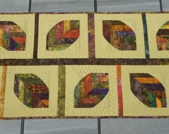 Quilted Table Runner, Table Topper, Fall Colors, Brown, Orange, Green, Table Decor, Quilted, Handmade