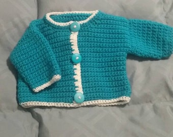 Adorable hand crocheted Baby Cardican-Size 6-12 Months.
