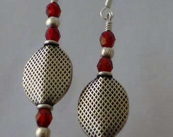 Bali Silver and Red Bead Earring Dangles