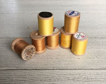 Vintage Wooden Spools Yellow Gold Thread Lot