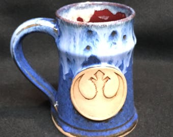Star Wars inspired mug with Rebel Alliance emblem, 16 ounces