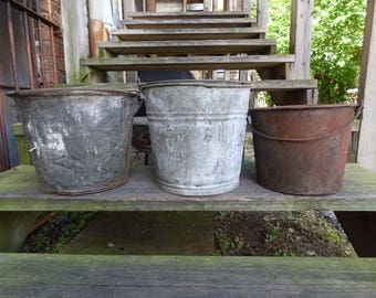 3 metal Buckets galvanized pails Rustic weathered old bucket Barn Garden Planters Storage Industrial Cottage
