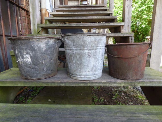 3 metal buckets galvanized pails rustic weathered old bucket for Rustic galvanized buckets