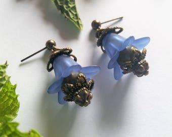 Cobalt Blue and Bronze Victorian Flower Post Earrings