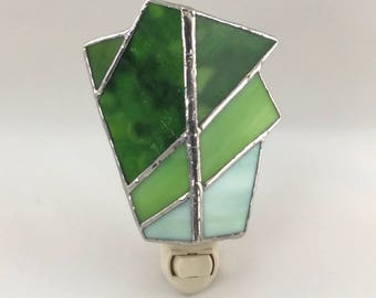 Earthy Forest Green and Emerald Green Hand Crafted Abstract Stained Glass Nightlight