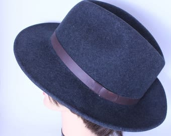 Vintage Pendleton Gentlemen's  Hat / Indiana Jones Hat  / Charcoal Gray /  Fedora /   Size X XL / A199-001