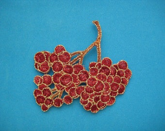 Iron-on Embroidered applique Grape 2.5 inch
