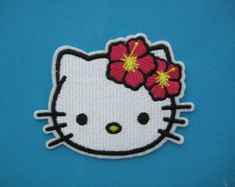 Iron-on Embroidered Patch Hello Kitty Cat 3.5 inch