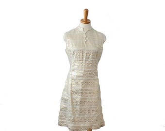 50% half off sale // Vintage 60s Ivory and Gold L'Aiglon Party Dress  - Women S M - Greek Letter Pattern
