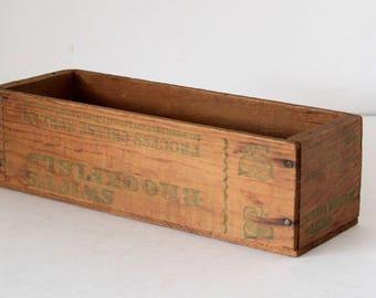 Vintage Wood Brookfield Cheese Box rustic Storage Small Wood Crate