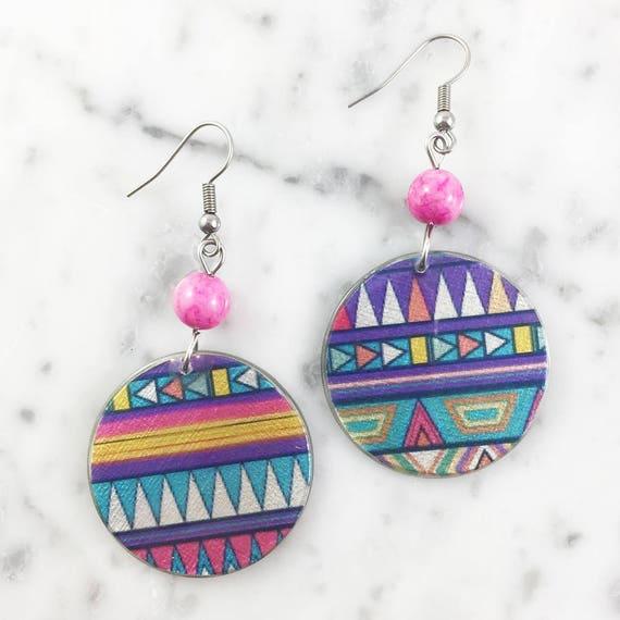 Resin earrings, abstract, yellow, purple, pink, green, geometric, unique, handmade, sold, earring, hypoallergenic hook