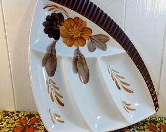 Vintage Retro 1960s Shorter & Son Hors D'Oeuvres Snack Nibbles Dish Brown Flower
