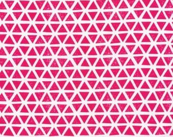 Organic KNIT Fabric - Cloud9 2017 Knits - Triangles Magenta