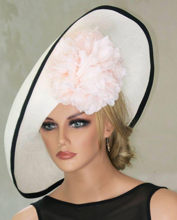 Derby Hat. Wedding Hat. Wide Brim Hat Melbourne Cup Hat British Saucer Hat Formal Hat Ascot Hat Women's Black & White Hat Elegant Royal Hat