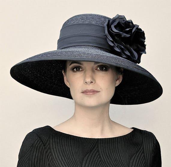 Kentucky Derby Hat, Black Wide Brim Hat, Ladies Black Hat, Funeral Hat, Formal Hat, Ascot Hat, Audrey Hepburn hat, Big Hat, Occasion Hat