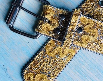 Vintage Emroidered Yellow Fabric and Leather Belt Women Large