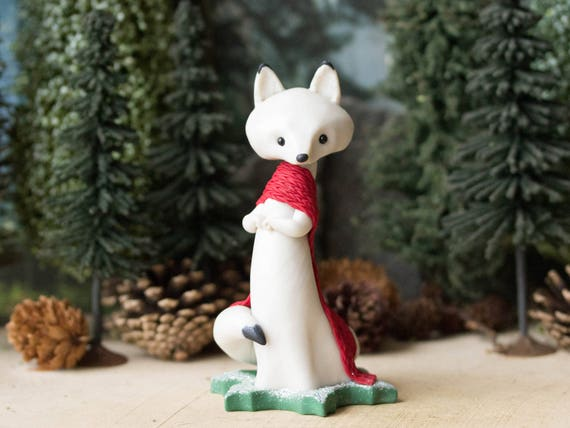 Arctic Fox Figurine with a Red Stockinette Scarf by Bonjour Poupette