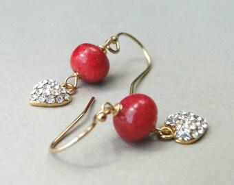 Earrings / Jewelry for Women / Ruby Dangle Earrings / Rhinestone Heart Earrings / 14k Gold Filled Drop Ruby Earrings / Red Ruby Earrings